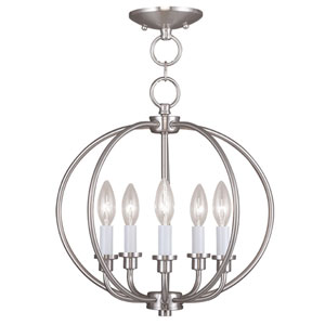 Milania Brushed Nickel Five Light Convertible Chain Hang and Ceiling Mount