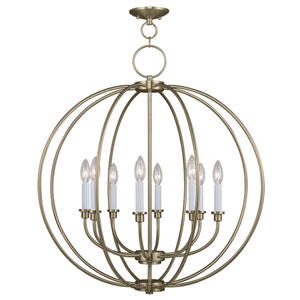 Milania Antique Brass Eight Light Chandelier