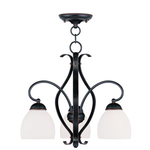 Brookside Olde Bronze Three-Light Convertible Chain Hang/Ceiling Mount