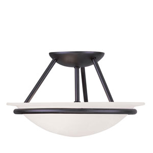 Newburgh Black Two Light 7-Inch Semi-Flush Mount with White Alabaster Glass