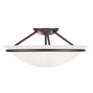 Newburgh Bronze Three Light 7-Inch Semi-Flush Mount with White Alabaster Glass