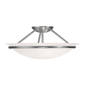 Newburgh Brushed Nickel Three Light 7-Inch Semi-Flush Mount with White Alabaster Glass