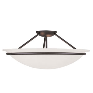Newburgh Black Three Light 8-Inch Semi-Flush Mount with White Alabaster Glass