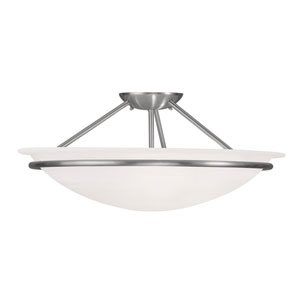 Newburgh Brushed Nickel Three Light 8-Inch Semi-Flush Mount with White Alabaster Glass