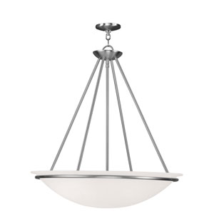 Newburgh Brushed Nickel Four Light 26-Inch Pendant with White Alabaster Glass