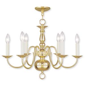Williamsburgh Six-Light Polished Brass Chandelier