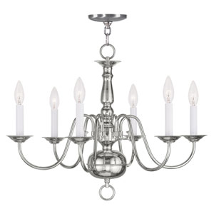 Williamsburgh Polished Nickel Six Light Chandelier