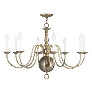 Williamsburgh Antique Brass 32-Inch Eight-Light Chandelier