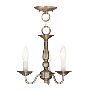 Williamsburgh Antique Brass Three-Light Convertible Semi Flush Mount