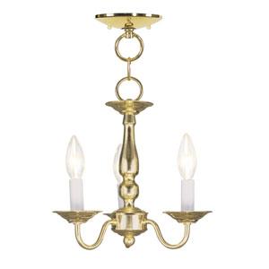 Williamsburgh Polished Brass Three-Light Convertible Semi Flush Mount