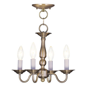 Williamsburgh Antique Brass Four-Light Convertible Semi Flush Mount