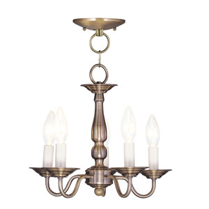 Williamsburgh Antique Brass Five-Light Convertible Semi Flush Mount