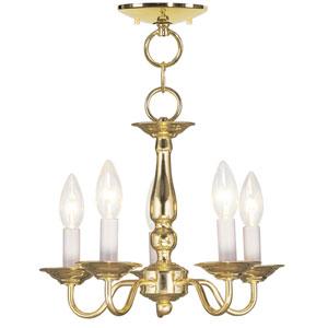 Williamsburgh Polished Brass Five-Light Convertible Semi Flush Mount