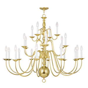 Williamsburgh Polished Brass 22 Light Chandelier