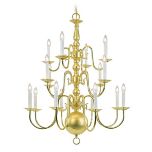 Williamsburgh Sixteen-Light Polished Brass Chandelier