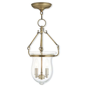 Canterbury Antique Brass 10-Inch Two-Light Pendant