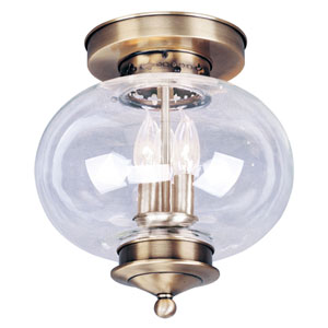 Harbor Antique Brass Three-Light Semi-Flush