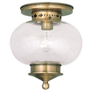 Harbor Antique Brass 9.5-Inch One-Light Semi Flush Mount