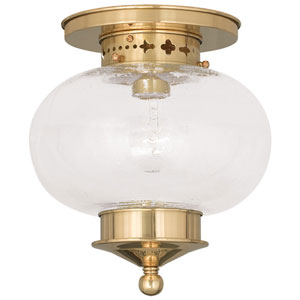Harbor Polished Brass 9.5-Inch One-Light Semi Flush Mount