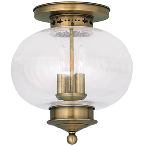 Harbor Antique Brass Three Light Ceiling Mount