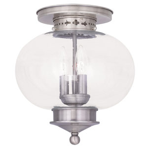 Harbor Brushed Nickel Hand Blown Seeded Glass Three Light Ceiling Mount