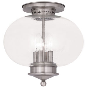 Harbor Brushed Nickel 13-Inch Four-Light Semi Flush Mount with Hand Blown Seeded Glass