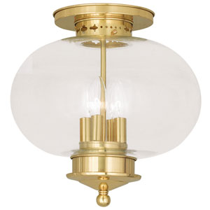 Harbor Polished Brass 13-Inch Four-Light Semi Flush Mount with Hand Blown Clear Glass