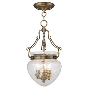 Duchess Antique Brass Three Light Convertible Chain Hang and Ceiling Mount
