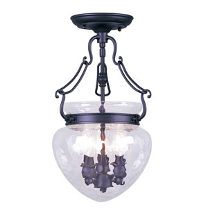 Duchess Black Three-Light Convertible Semi-Flush