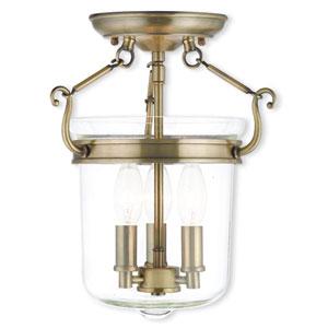 Rockford Antique Brass 10.5-Inch Three-Light Semi Flush Mount