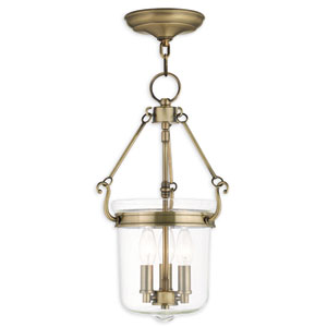 Rockford Antique Brass 10.5-Inch Three-Light Pendant