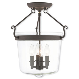 Rockford Bronze 14.5-Inch Four-Light Semi Flush Mount