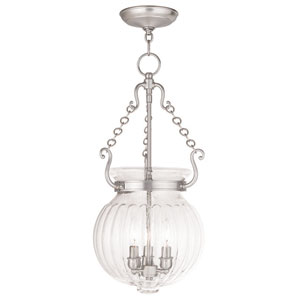 Everett Brushed Nickel 12-Inch Three-Light Pendant