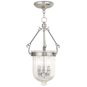 Coventry Polished Nickel 10-Inch Three-Light Pendant