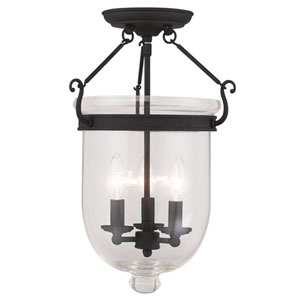 Jefferson Black Clear Glass 17-Inch Three Light Ceiling Mount