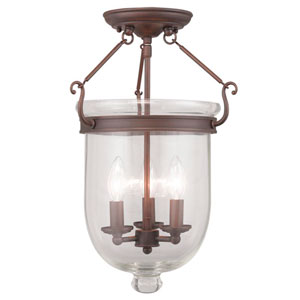Jefferson Imperial Bronze Clear Glass 17-Inch Three Light Ceiling Mount