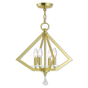 Diamond Polished Brass 18-Inch Four-Light Chandelier