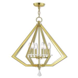 Diamond Polished Brass 25-Inch Six-Light Chandelier