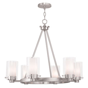 Manhattan Brushed Nickel 26-Inch Six-Light Chandelier