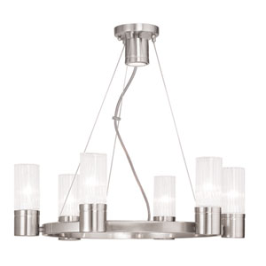 Midtown Brushed Nickel 23-Inch Six-Light Chandelier