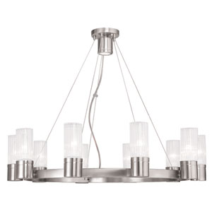 Midtown Brushed Nickel 30-Inch Ten-Light Chandelier