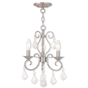 Donatella Brushed Nickel 12-Inch Three-Light Convertible Chandelier