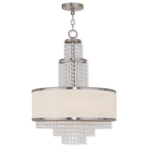 Prescott Brushed Nickel 18-Inch Five-Light Drum Pendant