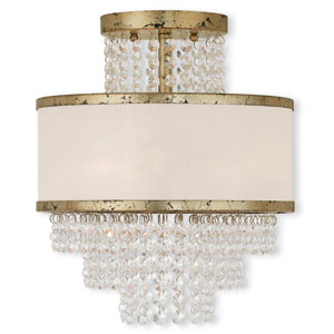 Prescott Hand Applied Winter Gold 12-Inch Three-Light Semi Flush Mount