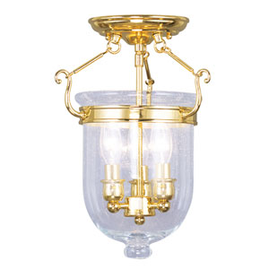 Jefferson Polished Brass Three-Light Semi-Flush