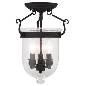 Jefferson Black Seeded Glass 14-Inch Three Light Ceiling Mount