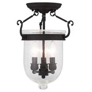 Jefferson Black Seeded Glass 14-Inch Three Light Ceiling Mount
