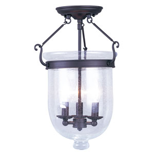 Jefferson Bronze Three-Light Semi-Flush