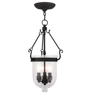 Jefferson Black Three Light Chain Hung Pendant with Seeded Glass