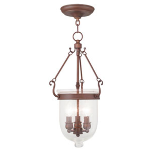 Jefferson Vintage Bronze Three Light Chain Hung Pendant with Seeded Glass